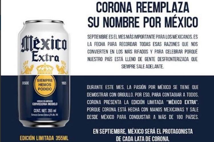La cerveza Corona cambiará su nombre, ahora se llamará